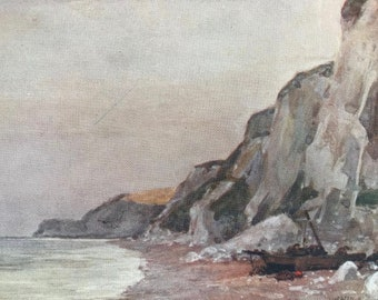 1907 Cliffs near Eastbourne Original Antique Print - Mounted and Matted - Available Framed - Sussex - England