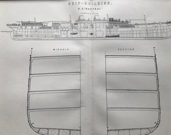 1891 Ship-Building - S.S. Austral Profile Plan and Midship Section Original Antique Print - Vintage Wall Decor - Ship Diagram