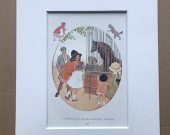 1919 Wolf Original Vintage Margaret W. Tarrant Illustration - Zoo - Animal Art - Available Framed - Nursery Decor - Children's Book