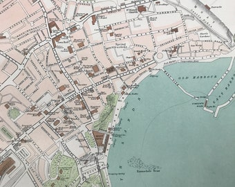 1898 Scarborough Original Antique Map - City Plan - England - English Town - Cartography - Gift Idea - Local History