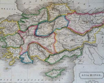 1829 Turkey (Asia Minor) Original Antique Hand-Coloured Engraved Map - Dated - Ancient History - Classics - Wall Decor