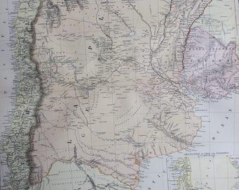1882 La Plata, Chili, Uruguay, Paraguay & Patagonia Large Original Antique Map, 15 x 22 inches, Home Decor, Argentina, South America