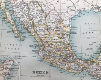 1912 Mexico Original Antique Map - Mounted and Matted - Available Framed