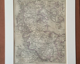 1878 Schleswig-Holstein Large Original Antique Map - Available Mounted and Matted - Germany - Denmark - Victorian Decor