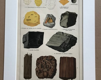 1895 Large Original Antique Mineral Lithograph - Rocks - Crystals - Geology - Crystallography - Mineralogy - Available Framed