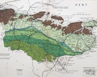 1913 Kent Original Antique Small Geological Map - UK County Map - Geology - Available Framed