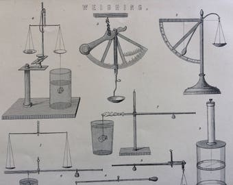1891 Weighing Original Antique Encyclopaedia Illustration - wall decor - home decor - Scales