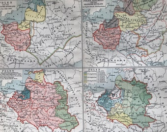 1897 The History of Poland and Western Russia Original Antique Map - Available Mounted and Matted - Cartography - Vintage Map