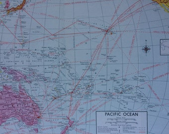 1940s Pacific Ocean Original Vintage Map showing capitals, colonies, boundaries, railways, commercial airways and steamship routes