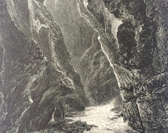 1876 Gorge of the Tamina, Pfaefers Original Antique Wood Engraving - Switzerland - Mounted and Matted - Available Framed