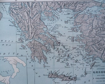 1936 Ancient Greece and her colonies B.C 1200 -145 Original Vintage Map 11.5 x 14.5 inches, Home Decor, Cartography, Geography