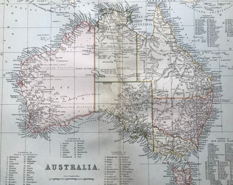 1891 Australia Original Antique Map with lists of counties in different regions - 9 x 12 Inches - Cartography - Wall Decor