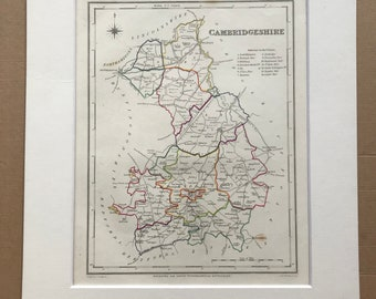 1845 Cambridgeshire Original Antique Hand-Coloured Engraved Map - UK County Map - Available Framed - England