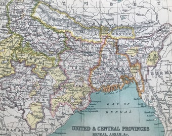 1912 United & Central Provinces, Bengal, Assam Original Antique Map - India - Mounted and Matted - Available Framed