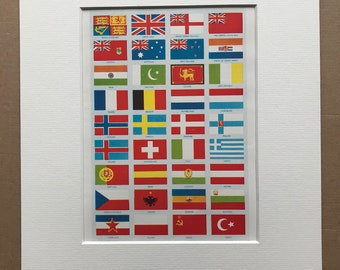 1940s Flags of the Commonwealth, Europe and Near East Original Antique Print - Mounted and Matted - Vexillology - Available Framed