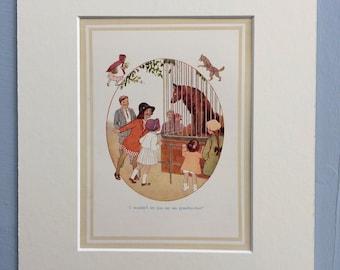 1937 Wolf Original Vintage Margaret Tarrant Children's Book Illustration - Nursery Decor - Mounted and Matted - Animal Art