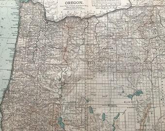 1903 Oregon Original Antique Map - US State Map - Wall Decor - USA - Cartography - Wall Map