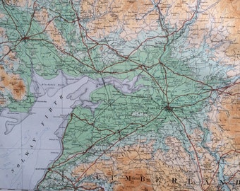 1922 original antique ordnance survey map of England, Durham, Northumberland, Cumberland, wall decor, home decor