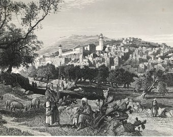 1880 Hebron Original Antique Steel Engraving - Mounted and Matted - Available Framed - Palestine - Landscape Art - Victorian Decor