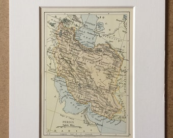 1895 Persia Original Antique World Map - Mounted and Matted - 8 x 10 inches - Framed Map - Gift Idea - Framed Vintage Art