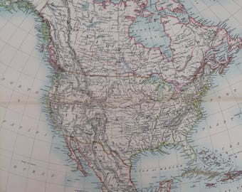 1898 North America Extra Large Original Antique A & C Black Map - United States, Canada, Mexico, West Indies, USA - Wall Decor