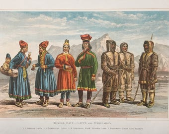 1882 Mongol Race (Lapps and Esquimaux) Original Antique Lithograph, 11 x 14 inches - Home Decor - Anthropology - Races - Humans