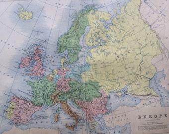1859 EUROPE Original Antique Map, 10.5 x 13.5 inches, historical wall decor, A K Johnson Atlas, Home Decor, Cartography, Geography