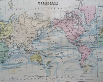1880 The World on Mercator's Projection Original Antique Map, 10 x 12.75 inches, Home Decor, Cartography, Vintage Decor