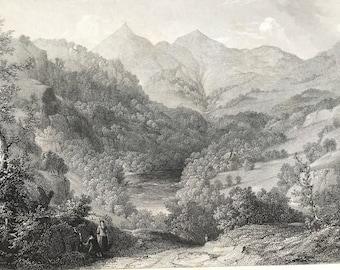 1884 Scene on the Tummel Original Antique Matted Engraving - Tummel River - Scotland - Landscape - Available Framed