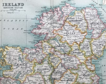 1912 Ireland (Northern Part) Original Antique Map - Mounted and Matted - Available Framed