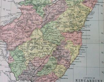 1902 County of Kincardine Small Original Antique Map - Scotland - Scottish History - Wall Decor - Scottish County - Available Framed