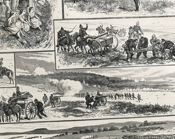 1883 Sketches of the German Army Manoeuvres Original Antique Engraving - Mounted and Matted - Victorian Decor - Military Decor - Germany