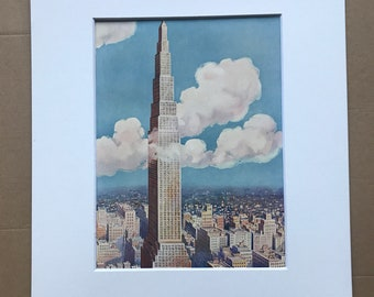 1928 The Projected Larkin Tower, New York City Original Vintage Print - Skyscraper - Engineering - Mounted and Matted - Available Framed