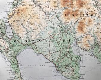 1924 Kirkcudbright, Wigtonshire Original Antique Ordnance Survey Panorama Map - Scotland - Cartography - Geography
