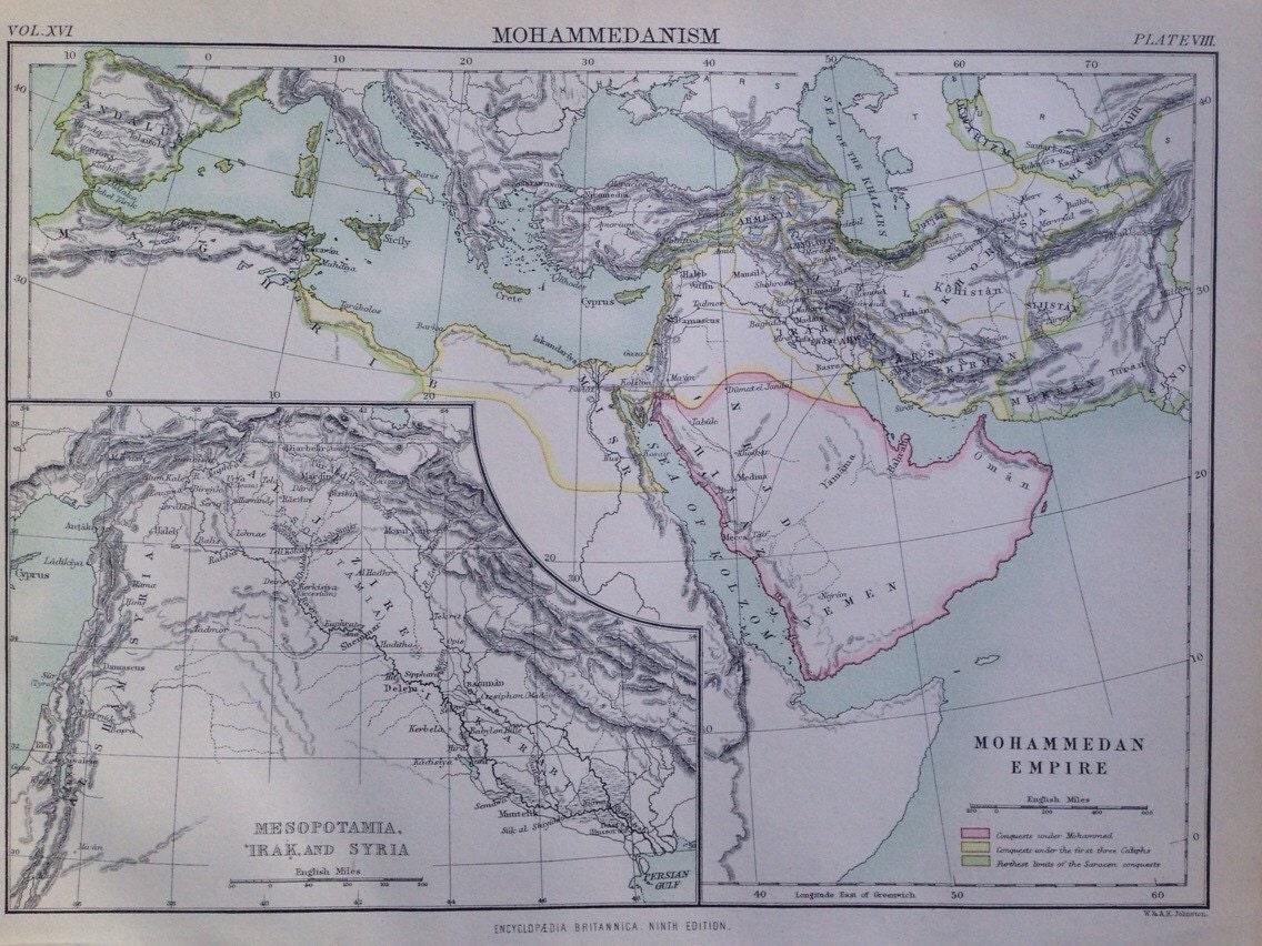 1875 ISLAMIC WORLD Original Antique Map - Muslim World - Islam ...