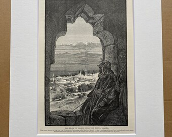 1880 The Plain of Sharon from the Tower, Ramleh Original Antique Engraving - Israel - Palestine - Mounted and Matted - Available Framed