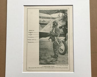 1927 A High-Flying Pilot Original Vintage Print - Aircraft - Airplane - Mounted and Matted - Available Framed