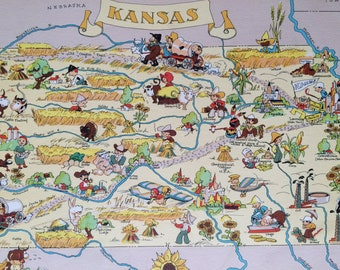 1935 Kansas Original Vintage Cartoon Map - Ruth Taylor - Available Mounted and Matted - Whimsical Map - United States