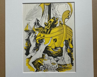 1940s Odysseus Lured by the Sirens' Songs Original Vintage Print - Sea Nymph - Greek Literature - Mounted and Matted - Available Framed