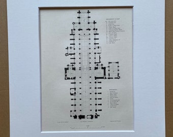 1838 Exeter Cathedral - Floor Plan Original Antique Engraving - Devon - Architecture - Mounted and Matted - Available Framed