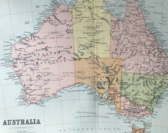 1904 Australia Original Antique Map - Available Mounted and Matted - Vintage Wall Decor