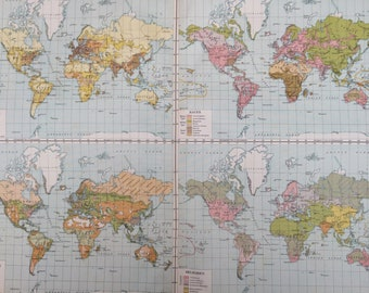 1920 The World Extra Large Original Antique World Map with inset maps showing Density of Population, Races, Occupations and Religions