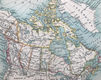 1912 Dominion of Canada Original Antique Map - Mounted and Matted - Available Framed