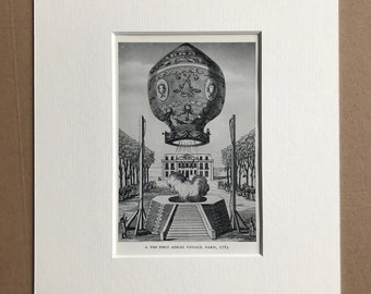 1948 The First Aerial Voyage, Paris, 1783 Original Vintage Print - Mounted and Matted - Available Framed - Aeronautics - Hot Air Balloon