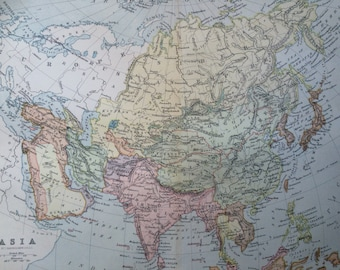 1904 ASIA original antique map - geography, cartography, wall decor - 9.75 x 13 inches