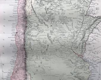 1876 Chilli, La Plata or the Argentine Republic and Bolivia Large Original Antique A & C Black Map - Argentina - Chile - South America