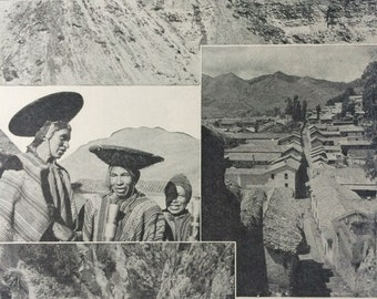 1940s Peru Original Vintage Print - Mounted and Matted - Andes, Mining, Cuzco, Llama - Scenes in Peru - Available Framed