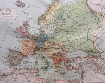 1895 Europe (Political) Original Antique Map - Available Mounted and Matted - Vintage Map
