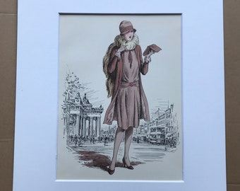 1949 Original Vintage Fashion Illustration - 1928-29 - The Pursuit of Fashion - Mounted and Matted - Available Framed