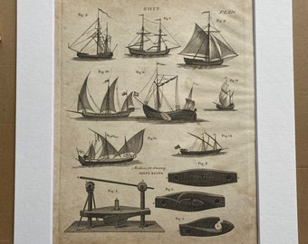1806 Sailing Ships and Ship Bolts Original Antique Engraving - Mounted and Matted - Available Framed